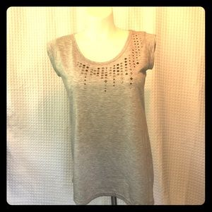 New French Laundry Grey Shirt Knit Top Large